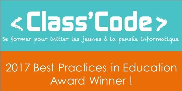 Le projet Class'code remporte le prix des Meilleures pratiques éducatives